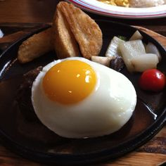 Hamburger steak with sunny side up!