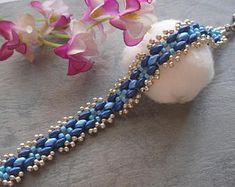 Beaded Bracelet Pattern Tutorial - Blue Cross Bead Superduo Bracelet (BB196) - Beading Jewelry PDF Tutorial