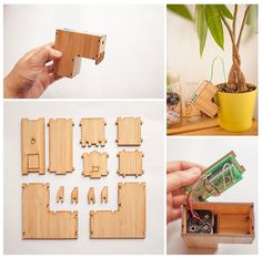 Cute Wooden Figurines Send Texts, Emails, To Remind You To Water Your Plants - DesignTAXI.com