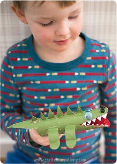 Krokodil av hushållsrullar – Paper roll crocodile