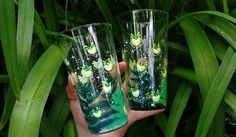 Hand painted drinking water glasses, Magical firefly glass, Magick juice glass set, Firefly woodland fern illustration, Moon and stars gift Paint And Drink, Dandelion Clock, Moon Art, Sky Moon, Hand Painted Mugs, Star Gift, Glass Water Bottle, Nature Illustration, Botanical Art