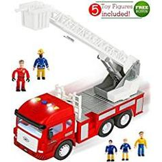 FUNERICA Toy Fire Truck with Lights and Sounds - 4 Sirens - Extending Ladder - Powerful Friction Rolling - Firetruck Fire Engine for Toddlers & Kids - Toys Toy Trucks, Fire Trucks, Toddler Toys, Kids Toys, Fire Engine Toy, Lights And Sirens, Wooden Playset, Play Vehicles, Emergency Vehicles