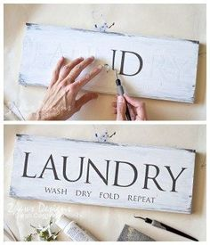DIY Laundry Room Sign: Add a little fun to your Laundry Room with an easy, DIY decorative wooden sign! Post includes the full, step-by-step tutorial.