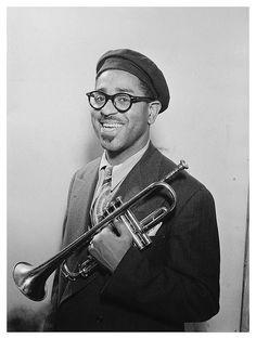 "Dizzy Gillespie (October 1917 – January was an American jazz trumpeter, bandleader, composer, and singer. John Birks ""Dizzy"" Gillespie was born in Cheraw, South Carolina. Jazz Artists, Jazz Musicians, Music Artists, Soul Music, My Music, Beatnik Style, Montreux Jazz, Dizzy Gillespie, Amadeus Mozart"