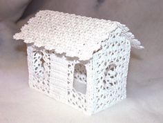 Lace crochet starched house Christmas decoration