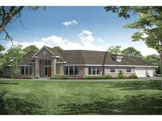 051H-0332: Unique Ranch House Plan Contemporary House Plans, Contemporary Bathrooms, Floor Framing, Roof Detail, One Story Homes, Garden Tub, Luxury House Plans, Story House, Walk In Pantry