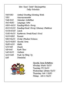 preschool classroom schedule template - full day kindergarten class schedule kim adsit