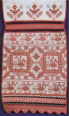 End of the towel. Embroidery. Beginning of XIX century. Velikoustiugskii area.