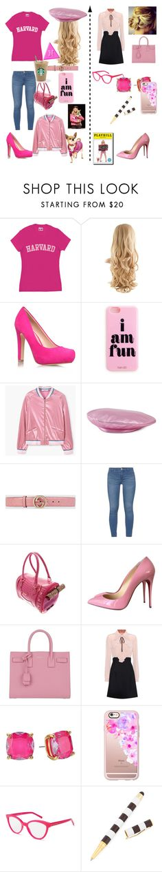 """Elle Woods Beginner to Lawyer Legally Blobde"" by diazd6879 ❤ liked on Polyvore featuring Miss KG, MANGO, Gucci, Dorothy Perkins, UrbanPup, Christian Louboutin, Yves Saint Laurent, Miu Miu, Kate Spade and Casetify"