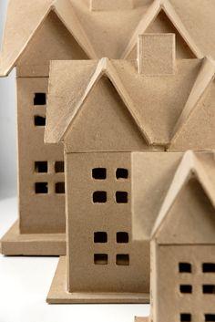"Paper Mache (set of 3 Houses) House $19 set (6"" - 8"" - 12.5"")"