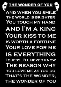 ELVIS LYRICS THE WONDER OF YOU INSPIRATIONAL QUOTE SIGN POSTER PRINT: Amazon.co.uk: Kitchen & Home