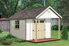 16' X 12' Cabin Shed Covered Porch Plans Plueprint #p61612, Free Material List