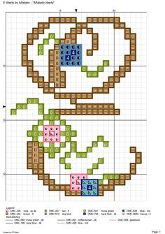 """""""Liberty"""" Monogram with Small Flowers Cross Stitch Pattern Alfabeto liberty: E Cross Stitch Letters, Cross Stitch Charts, Monogram Alphabet, Plastic Canvas Patterns, Cross Stitching, Stitch Patterns, Small Flowers, Fancy Letters, Floral"""