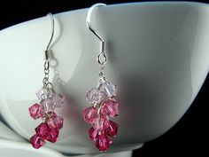 Pink Swarovski Cluster Earrings with sterling silver