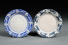 Two Dedham Pottery Iris Plates  Art pottery  Dedham, Massachusetts  Both decorated with blue Iris border on white crackle-glazed ground