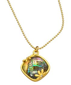 Black Mother of Pearl Crystal and Gold Pendant Necklace