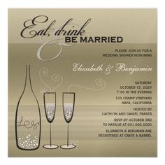 Eat Drink Be Married Silver Champagne Wedding Show Custom Invitation