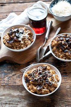 Farro Beer Risotto with Roasted Wild Mushrooms-- loved this! simple but delicious.