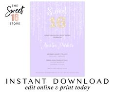 Sweet 16 Invitation | Lilac Sweet Sixteen Birthday Party Invite | Purple Gold Glitter 16th Party Invitation | Instant Download Digital File Sweet 16 Invitations, Birthday Party Invitations, Birthday Parties, Purple Gold, Lilac, Sixteenth Birthday, Edit Online, Sweet Sixteen, Gold Glitter