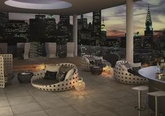 Skyscraper terrace #CaesarLife #view #livingroom