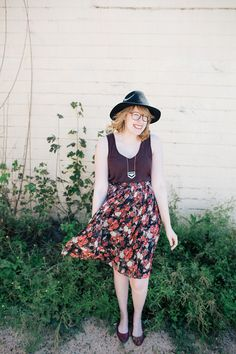 Madewell Anthem Scoop tank top, Forever 21 dark floral midi skirt with knife pleats, Brixton Wesley fedora, and mixed-metal necklace from francesca's