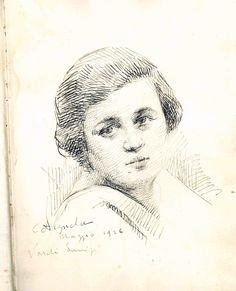 Disegno a inchiostro (ritratto di Olga Settembrini?) del 1926, facente parte di un taccuino acquisito nel 2017 dal museo grazie alla donazione Savini.