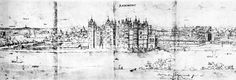 A sketch of Richmond Palace by Anthony van Wyngaerde in The remains of the old palace of Sheen can be seen to the right Richmond Palace, English Castles, Old Things, Tudor Architecture, History, Places, Outdoor, Beautiful, British