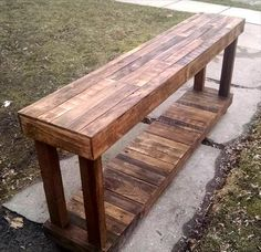 Extra Long Wooden Pallet Bench / Console / Side table - 130+ Inspired Wood Pallet Projects | 101 Pallet Ideas - Part 5