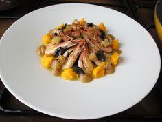 Bietole  alla  napoletana , GAMBERETTI  jonici , creme di  carote  melenzana  , olive nere. /***  Gino D'Aquino
