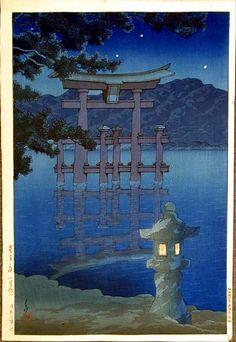 """Beautiful Night - Miyajima Shrine"" by Hasui, Kawase"