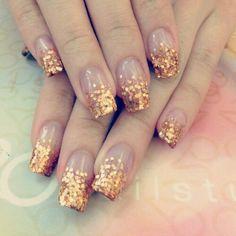 Gold Glitter Tips Nails