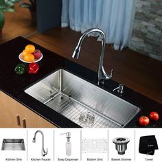"View the Kraus KHU100-32-KPF1621-KSD30 Kitchen Combo - 32"" Undermount Single Bowl 16 Gauge Stainless Steel Kitchen Sink with Pullout Spray Kitchen Faucet and Soap Dispenser at FaucetDirect.com."