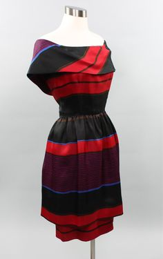 BILL BLASS robe Vintage soie rayé épaule - authentique-