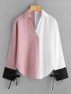 Color Block Contrast Cuff Tie Blouse 2019 V Neck Long Sleeve Casual Blouse Spring Women Clothing Multi XL Hijab Fashion, Korean Fashion, Fashion Dresses, Blouse Styles, Blouse Designs, Xl Mode, Tie Blouse, Shirt Blouses, Denim Blouse