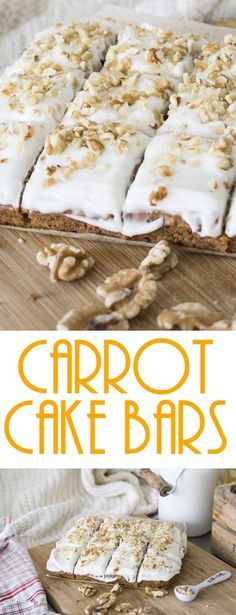 Carrot Cake Bars with Cream Cheese Frosting are easy to make, and disappear even faster! #cakebars #carrotcake #springbaking #dessertrecipe via @Flavoritenet