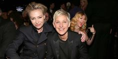 (From left) Portia de Rossi, Ellen DeGeneres & Kelly Clarkson at the Grammy Awards in Los Angeles, Calif., Feb. 10, 2013 (© Christopher Polk/Getty Images for NARAS)