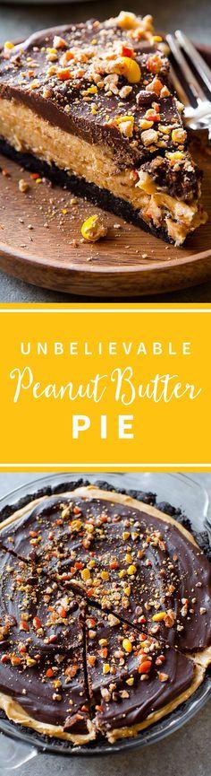 Unbelievable peanut butter pie with Oreo cookie crust and chocolate peanut butter ganache! No bake pie on http://sallysbakingaddiction.com