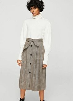 fa34fcc337b78 Decorative bow prince of wales check midi skirt.