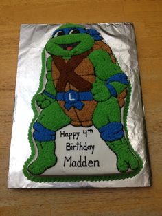 Leonardo the teenage mutant ninja turtle. Made using wilton ninja turtle pan