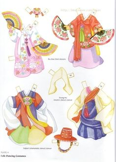 Korean Girl and Boy Paper Dolls by Yuko Green of Dover Publications Paper Toys, Paper Crafts, Korean Crafts, Paper People, Korean Traditional, Traditional Clothes, Folk Dance, Thinking Day, Vintage Paper Dolls