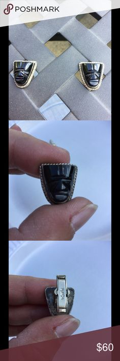 Vintage black onyx cuff links! Made in Mexico, silver and black onyx , etched tribal face! The back side on the silver does show wear! Unique collector item! Accessories Cuff Links