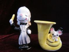 Dog conductor with mouse on french horn orchestra salt and pepper shaker set nov