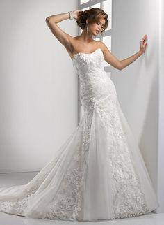 Strapless applique flowing wedding dress Edwina RSM1152