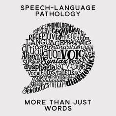 Word Bubble. Speech-Language Pathology is more than just words. This speech bubble design includes words that represent the SLP scope of practice. Perfect for your favorite SLP / speech therapy swag!