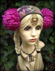 Tribal Belly Dance Headdress, Festival Headdress by HajnaLuna #tribalbellydance #festivalheaddress