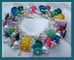 Beaded Charm bracelet Vintage buttons Ombre Confetti colors Handmade Jewelry