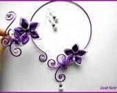 ˚•●๑ PRUNE parure mariage VIOLET BLANC fleur de satin : Parure par cascade-nacree
