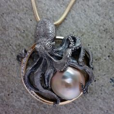 Pearl and Diamond Octopus Circle Pendant Sterling and 14k Gold handmade by Tosa Fine Jewelry #BestFineJewelry #HandmadeGoldJewellery