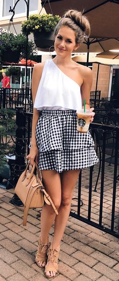 summer outfits White One Shoulder Top + Gingham Ruffle Skirt