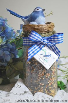 I love this idea for a bird seed gift jar linked up by A Cozy Place Called Home.